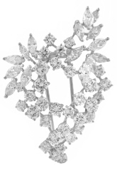 Platinum diamond cluster pin with 18kt yellow gold frame