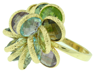 18kt yellow gold multi-color stone cocktail ring