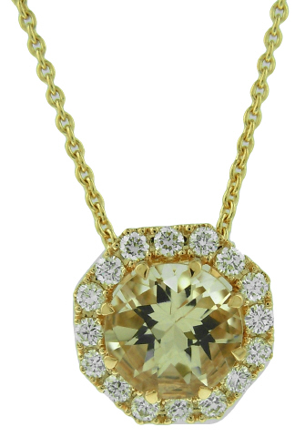 18kt rose gold morganite and diamond pendant with chain.