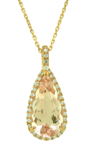 14kt rose gold morganite and diamond pendant with chain.