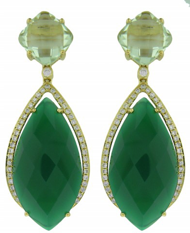 18kt yellow gold green agate, green amethyst and diamond earrings