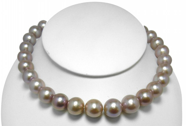 Strand freshwater pink Edison pearls with 14kt white gold diamond clasp